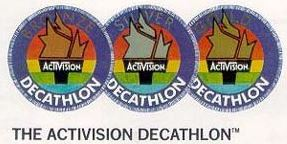 A trio of patches from the 1983 Atari 2600 game, Decathlon